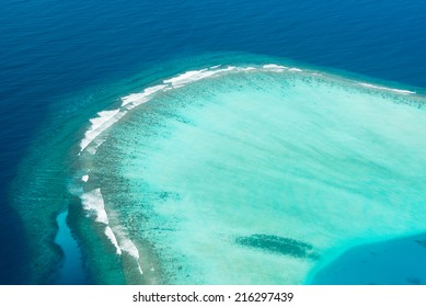 sea surface with waves and coral reef