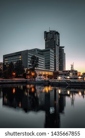 Sea Towers skyscraper in Gdynia after sunset