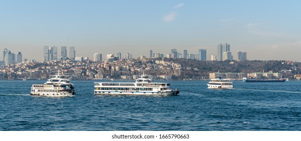 Sea traffic in the Bosphorus. March 4, 2020 Istanbul, Turkey
