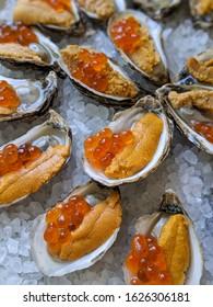 sea urchin oysters ikura salmon roe uni