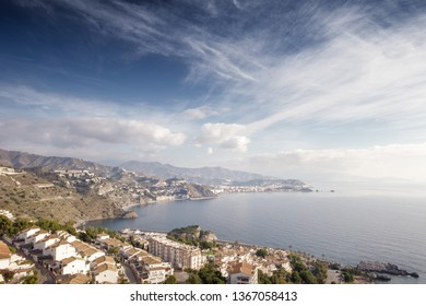 sea view in almunecar spain, a tourist town in a province of Granada in the Costa Tropical