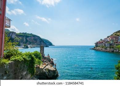 Sea view of Amasra, a popular seaside resort town in the Black Sea region of Turkey.