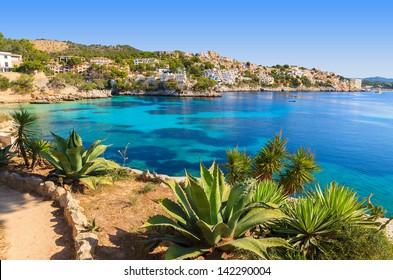 Sea view azure water beach village, Cala Fornells, Majorca island, Spain