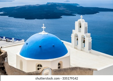 Sea and view and blue wite church, Santorini, Greece