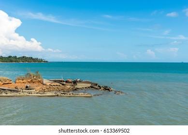 Sea view with clouds on horizon. Travel tropical island resort at ko chang island,Thailand.