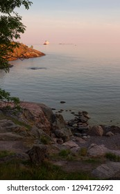 Sea view of the Gulf of Finland, summer evening at the stony coast of Suomenlinna Island in Finland.