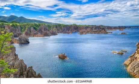 Sea view from hill at Sado island Japan