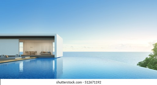 Sea View House With Pool In Modern Design   3d Rendering