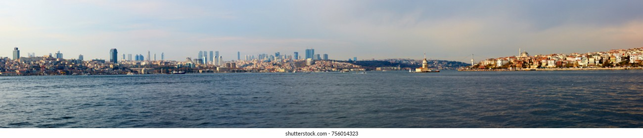 Sea view to Istanbul.Asian and Europe coasts. Ferry boat trip.