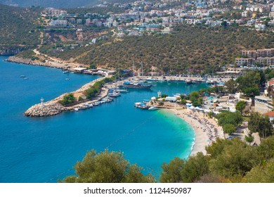 Sea view of Kalkan tourism city, Mediterranean cost. Antalya, Turkey