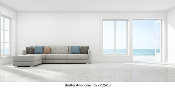 Sea view living room with empty wall in modern beach house, Luxury white interior of summer home - 3D rendering