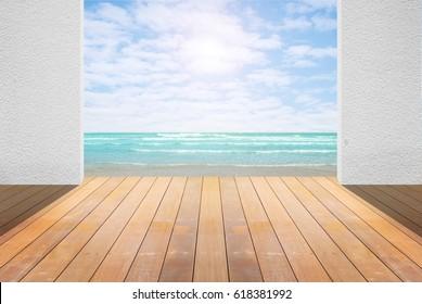 Sea view living room interior in modern beach house