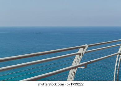 Sea view from the metal bridge minimalist wallpaper