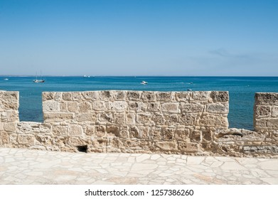 Sea view from the old fortress in Larnaka, Cyprus
