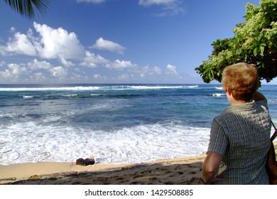 Sea view on the beach on the island Kauai, Hawaii.