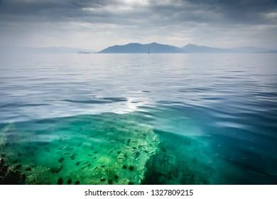 Sea view on the greek peninsula Pilion under a cloudy sky with mountains, some boats and in the front a under water rock with small fish and sea urchins