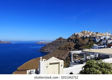 Sea View on Santorini Island in Greece