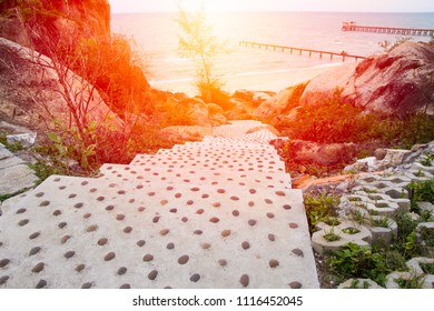 Sea view from on stone walkway