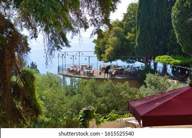 The sea view restaurant in Achilleion, Corfu island, Greece