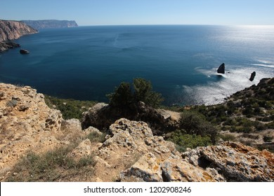 sea view with rocks from the height.black sea Crimea