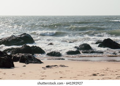 Sea view with rocks on shore. Seascape on topical island.
