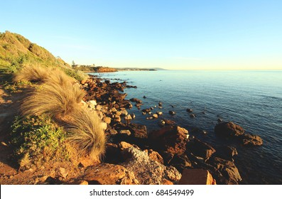 Sea view with stones at Mornington, Mornington Peninsula,Victoria, Australia