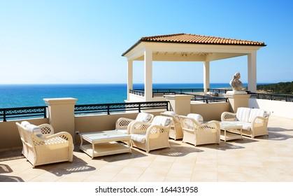 Sea view terrace of luxury hotel, Peloponnes, Greece