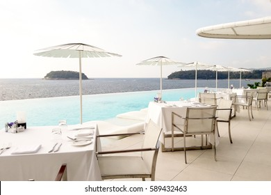 The sea view terrace at luxury hotel and restaurant, Phuket ,Thailand