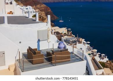 The sea view terrace at luxury hotel. Oia city, Santorini island, Cyclades islands, Agean Sea, Greece, Europe, EU.