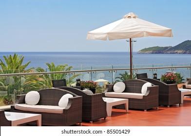 Meerblick Terrasse des Luxushotels