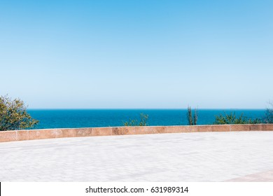 Sea view from the terrace on a sunny day, minimalist landscape