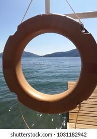 Sea view through the lifebuoy