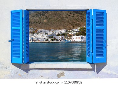 Sea view through traditional greek window in Sifnos island