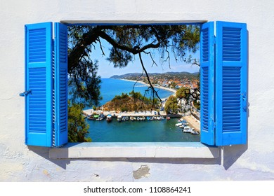 Sea view through traditional greek window in Thassos island
