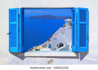 Sea view through traditional greek window in Santorini island