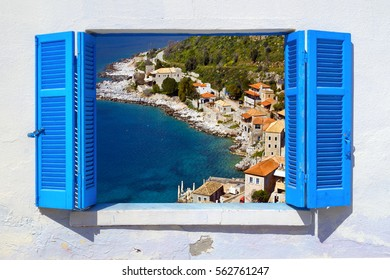 Sea view through traditional greek window