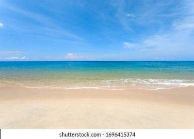 Sea view from tropical beach with sunny sky. Phuket beach Thailand.