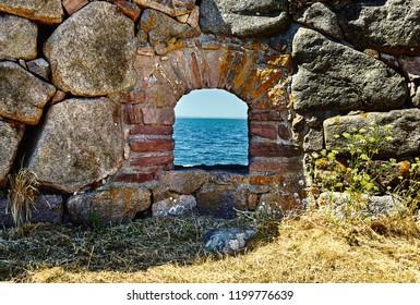 Sea views from the loopholes. Denmark, Christiansø Havn