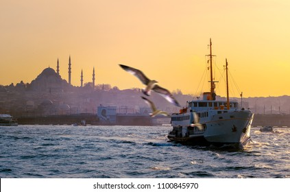 Sea voyage to the Golden Horn on the steamboat - seascape with seagulls and passenger ship at sunset. Istanbul skyline with silhouettes of mosque and flying birds over Galata Bridge.