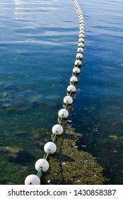 Sea water fence white styropor floater.