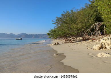 Sea water washes the fine yellow sand beach on Gili Meno Island in Indonesia. Mooring boat at sea not far from coast. Tropical shrubs and trees line the coast.Old dry tree trunks and branches mangrove