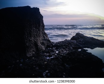Sea Water Waves View From The Edge Of The Rock In The Evening At Batu Bolong Beach, Canggu Village, Badung, Bali, Indonesia