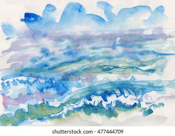 Sea watercolor background waves