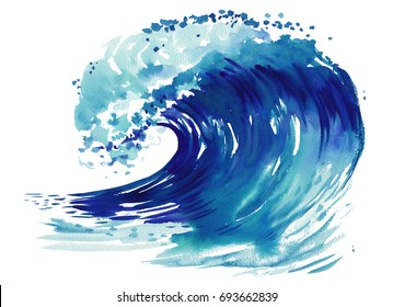 Sea wave. Abstract watercolor hand drawn illustration Isolated on white background.