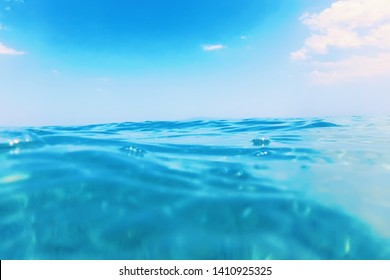 Sea wave close up, low angle view water background
