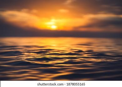 Nahaufnahme des Meeres, Low-Winkel-Sicht, Sonnenaufnahme.