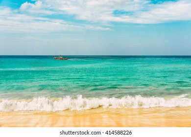 Sea wave foam on Karon beach, Phuket, Thailand. Exotic paradise of Thailand beach, Asia. Peaceful ocean wave at beach. Tropical beach resort for relax. Ocean wave. Sea shore waves. Enjoy Phuket beach
