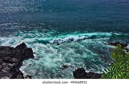 Sea wave over stones. Black rocks beach with high tide. Sea landscape digital illustration. Bright blue seawater with waves and foam. Tropical holiday and travel background. Volcanic island sea view