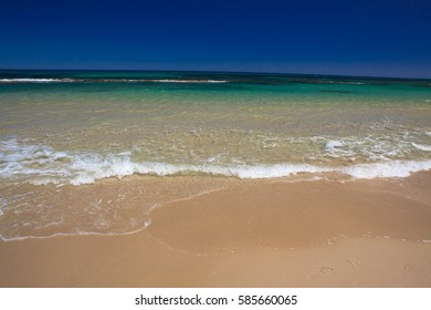 Sea wave and sand beach, clean sea water on the coast of Spain, Costa Blanca