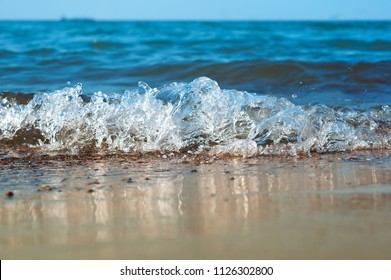 sea wave, storm on the ocean, wave coming ashore